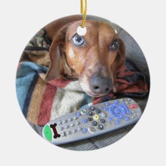 Adorable Dachshund Dog Ceramic Ornament