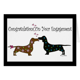 Adorable Dachshund Engagement Card