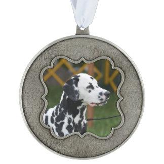 Adorable Dalmatian Scalloped Pewter Ornament