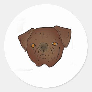 Adorable dark brown pug classic round sticker