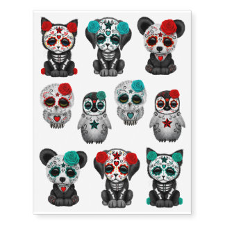 Adorable Day of the Dead Animals Collection Temporary Tattoos