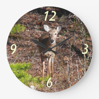 Adorable Deer in the Woods Nature Photography Large Clock