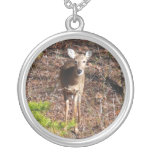 Adorable Deer in the Woods Nature Photography Silver Plated Necklace