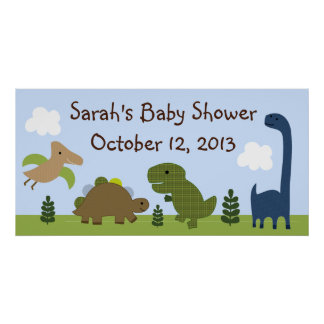 Adorable Dino/Dinosaurs Baby Shower Poster/Banner Poster