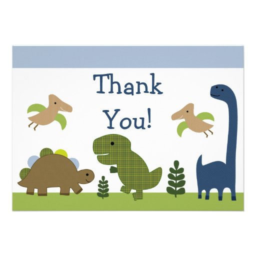 Adorable Dino/Dinosaurs Baby Thank You Cards Personalized Invitation