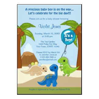 Adorable Dinosaur Baby Shower Invitations Boy 5