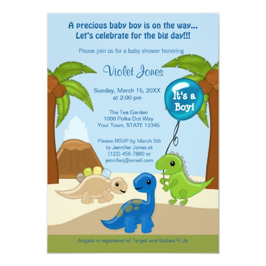 Adorable Dinosaur Baby Shower Invitations Boy