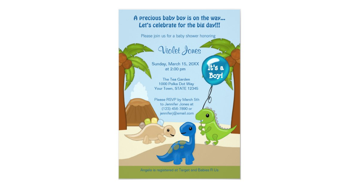 Adorable Dinosaur Baby Shower Invitations Boy | Zazzle.com