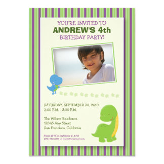Adorable Dinosaur Birthday Party Invite (green)