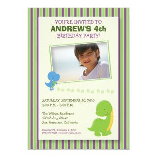 "Adorable Dinosaur Birthday Party Invite (green) 5"" X 7"" Invitation Card"