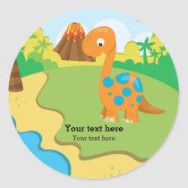 Adorable dinosaur classic round sticker