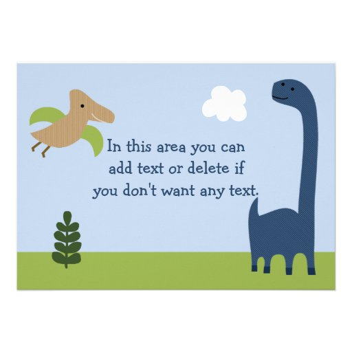 Adorable Dinosaur/Dino Baby Shower Invitation (back side)