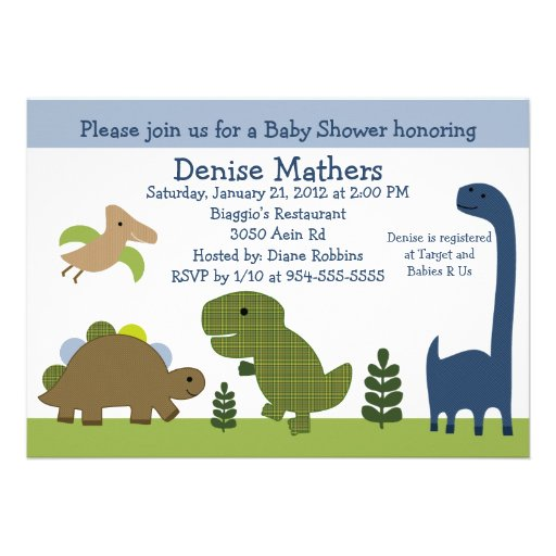 Adorable Dinosaur/Dino Baby Shower Invitation (front side)
