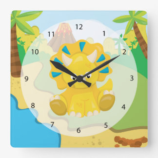 Adorable Dinosaur Square Wall Clock