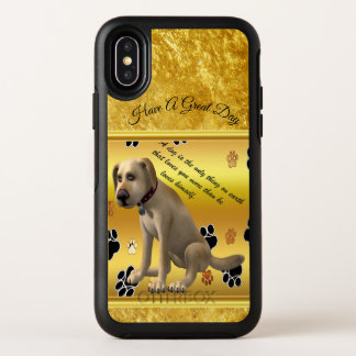Adorable dog sitting with a cute fun quote OtterBox symmetry iPhone x case