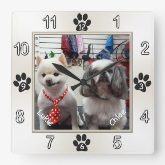 Adorable Dog Wall Clock with YOUR PHOTO and NAMES