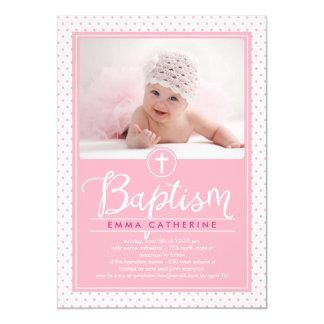 Adorable Dots Baptism Invitation - Pink