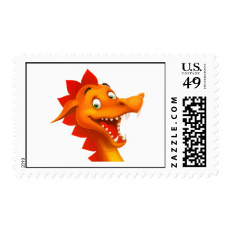 Adorable Dragon Face With Green Eyes Postage