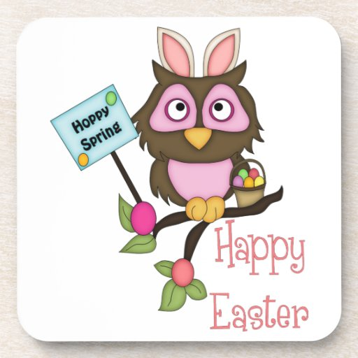Adorable Easter Owl with Bunny Ears Coaster