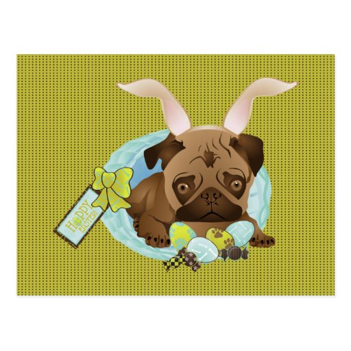 Adorable Easter Pug Bunny Tees and Gifts Post Cards