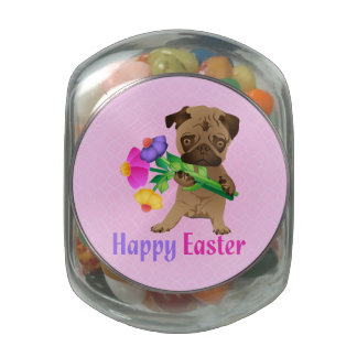 Adorable Easter Pug Gifts and Tees - Personalize Jelly Belly Candy Jar