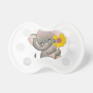 adorable elepahant with flower pacifier