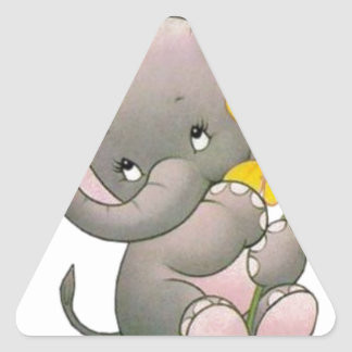 adorable elepahant with flower triangle sticker