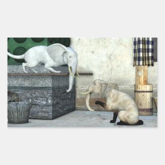 Adorable Elephant Cats Rectangular Sticker