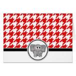 Adorable Elephant custom Red Houndstooth Cards