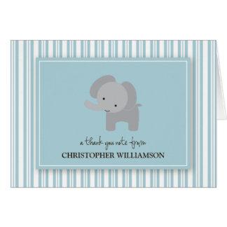 Adorable Elephant Kids Thank-You Card (blue)