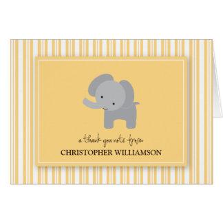 Adorable Elephant Kids Thank-You Card (lemon)