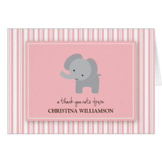 Adorable Elephant Kids Thank-You Card (pink)