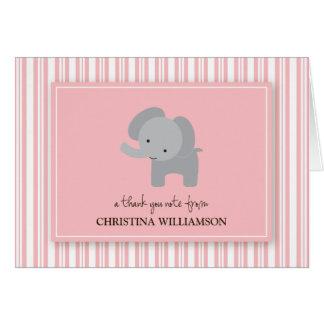 Adorable Elephant Kids Thank-You Card (pink)