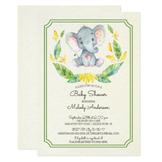 Adorable Elephant Neutral Baby Shower Invitation