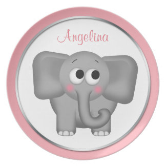 """Adorable Elephant - Personalized 10"""" Pink Plate"""