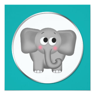 Adorable Elephant - Teal Baby Shower Invitations