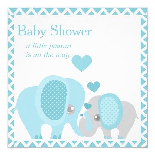 adorable elephants baby boy shower invitation zazzle