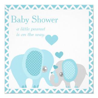 Adorable Elephants, Baby Boy, Shower Invitation