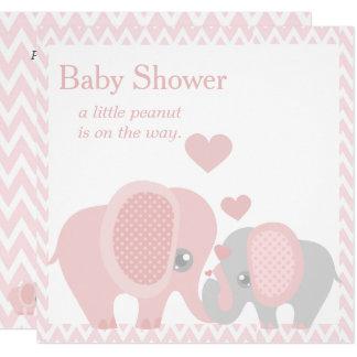 Adorable Elephants, Baby Girl Shower Invitation