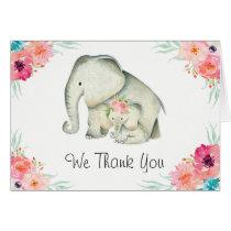 Adorable Elephants Baby Shower Thank You