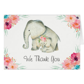 Adorable Elephants Baby Shower Thank You Card