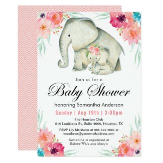 Adorable Elephants Girl Baby Shower Card