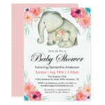 Adorable Elephants Girl Baby Shower Card at Zazzle