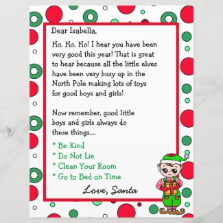 Adorable Elf Personalized Letter from Santa