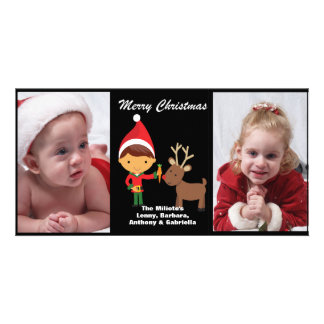 Adorable Elf With Reindeer Photo Christmas Card Photo Cards