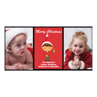 Adorable Elf With Reindeer Photo Christmas Card Photo Card Template