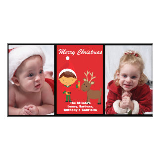 Adorable Elf With Reindeer Photo Christmas Card Personalized Photo Card