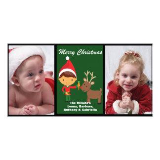 Adorable Elf With Reindeer Photo Christmas Card Customized Photo Card