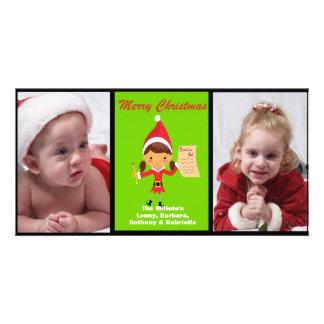 Adorable Elf With Reindeer Photo Christmas Card Custom Photo Card