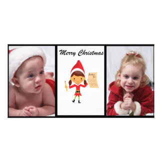 Adorable Elf With Reindeer Photo Christmas Card Picture Card